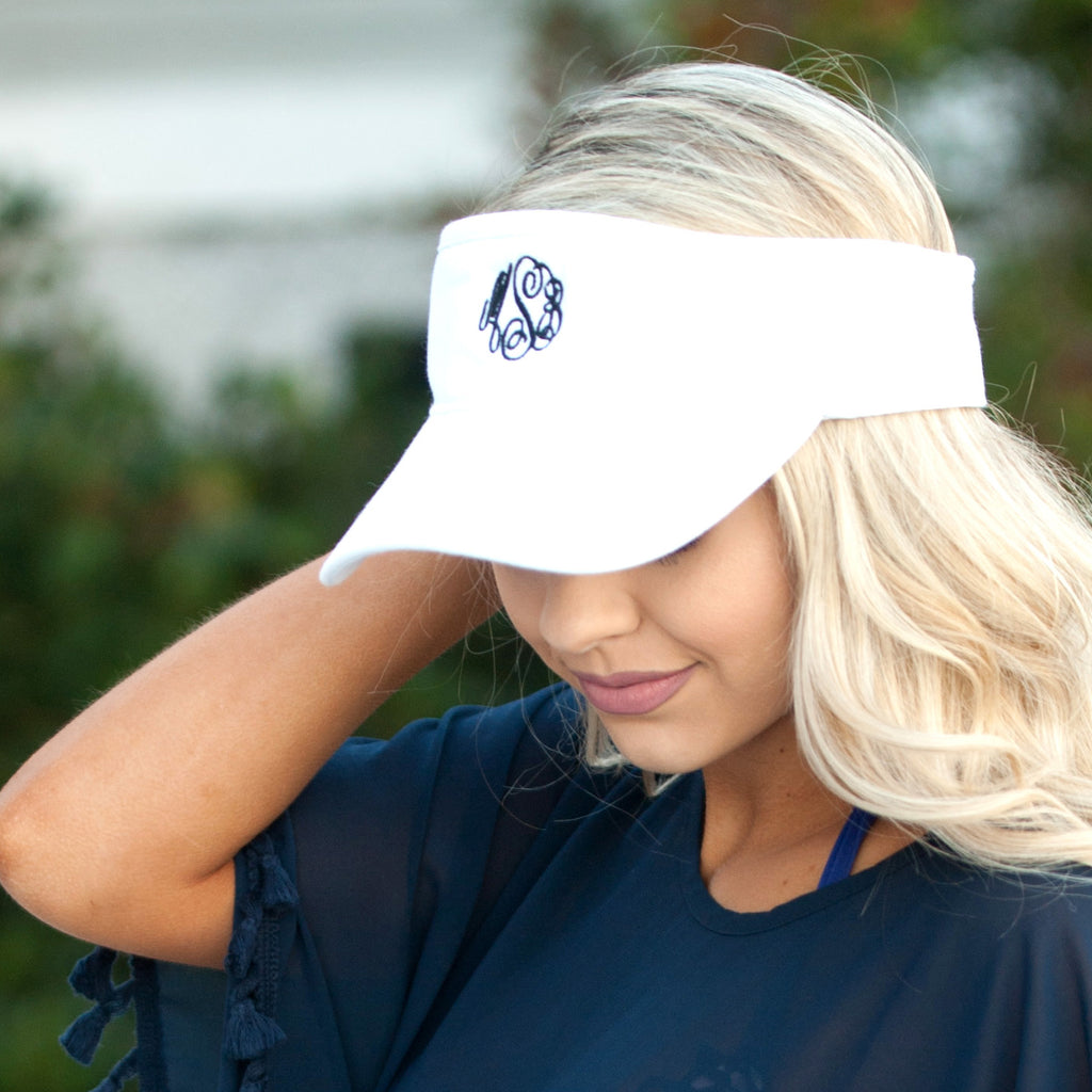 Personalized Womens Visor Cap - White