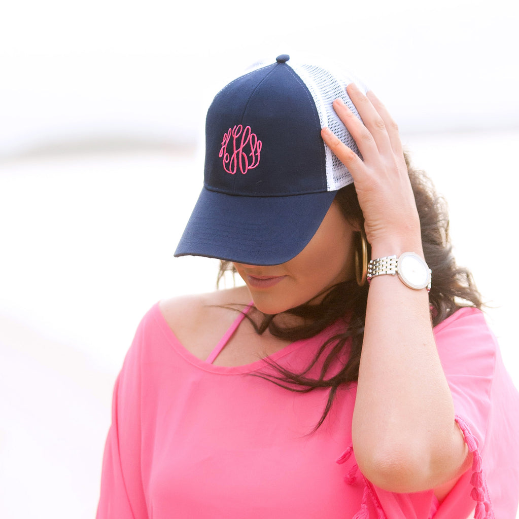 Monogrammed Trucker Hat Baseball Cap - Navy Blue
