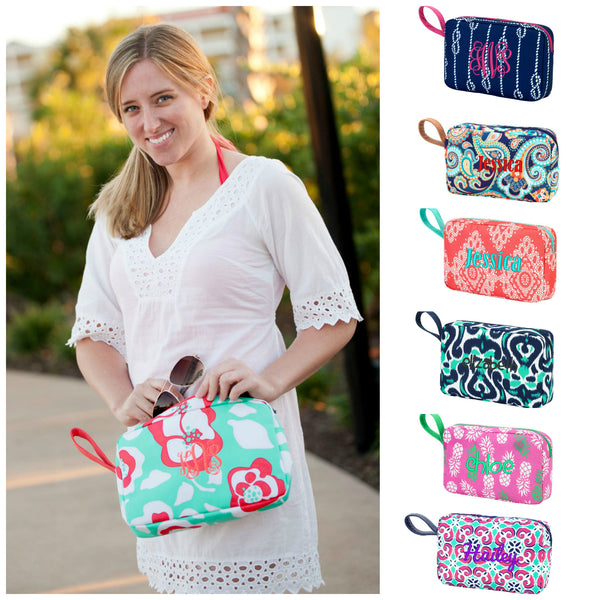 Monogrammed Cosmetic Bag Accessory Tote Large Wristlet Makeup Pouch