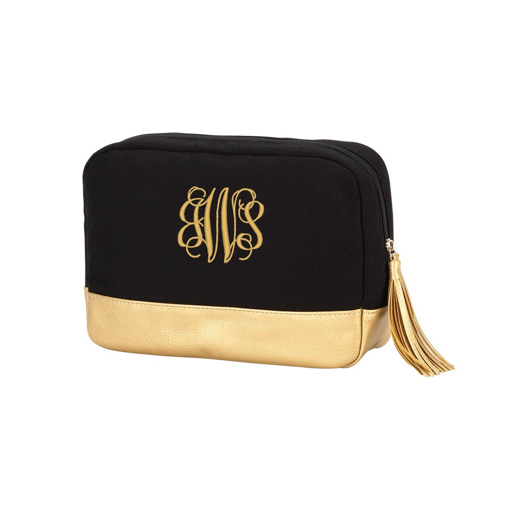 Personalized Cosmetic Bag with Tassel & Gold Trim