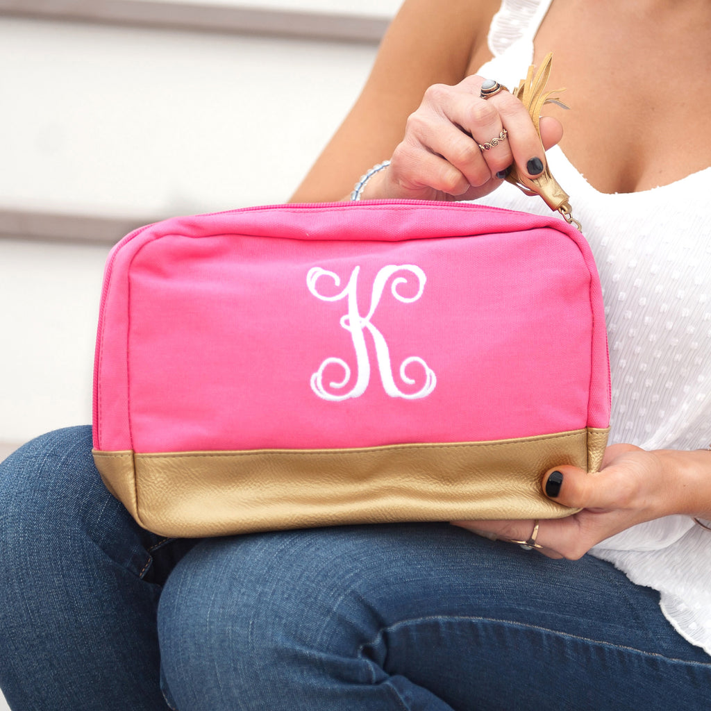Personalized Tassel Cosmetic Bag - Metallic Gold Trim - Hot Pink