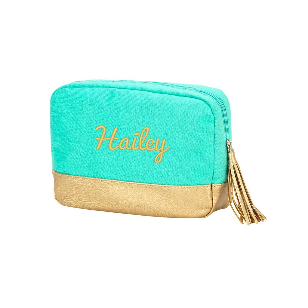 Personalized Tassel Cosmetic Bag - Metallic Gold Trim - Mint