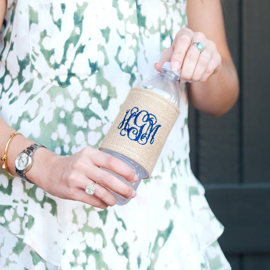 Monogrammed Burlap Drink Wrap for Cans & Bottles