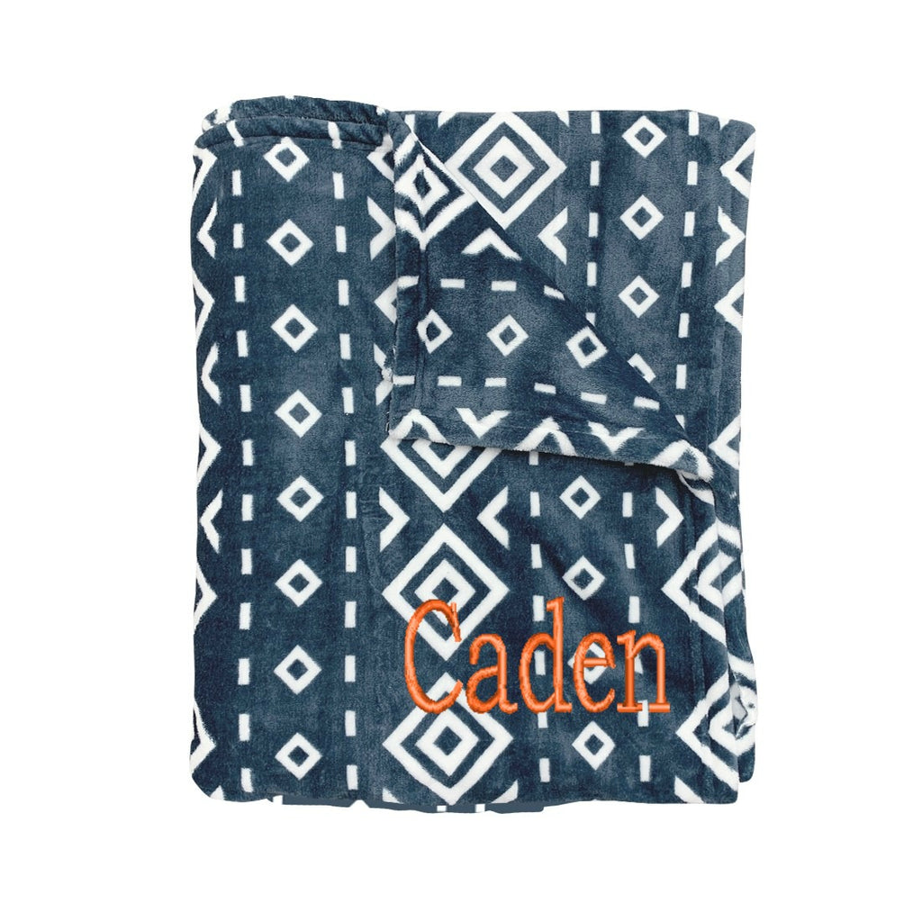 Personalized Blanket - Plush Polyester - Blue Diamond