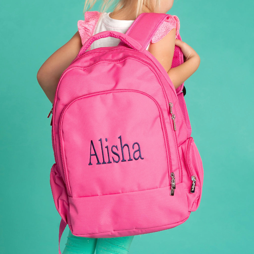 Personalized Backpack Bookbag Kids School Tote Bag - Hot Pink