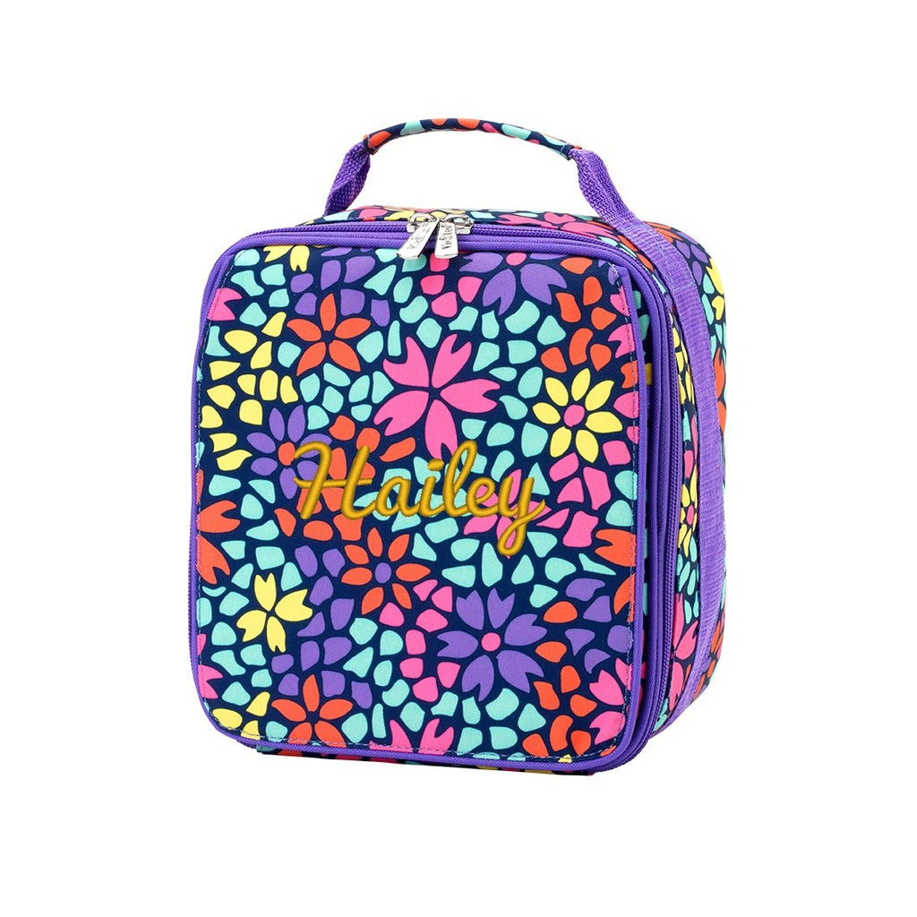 "Retired Patterns - Personalized 9"" Lunch Bag Insulated Lunchbox - Petal Punch Purple"