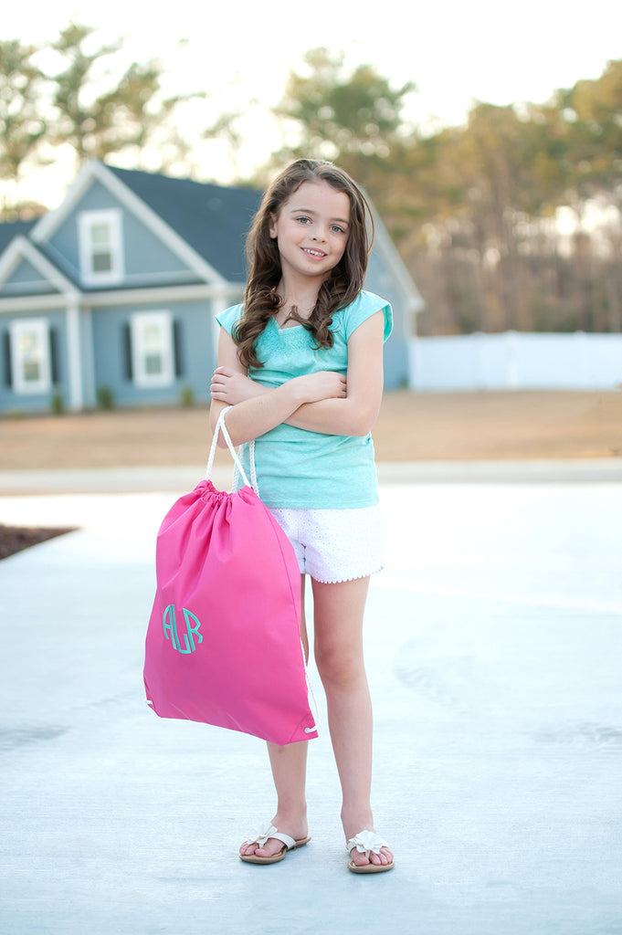 Monogrammed Kids Gym Bag Drawstring Backpack Sports Tote - Hot Pink