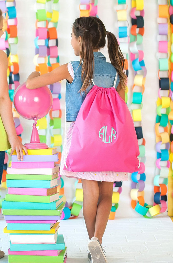 Monogrammed Kids Gym Bag Drawstring Backpack Sports Tote