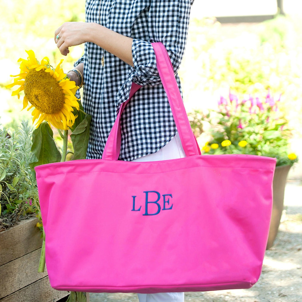 Personalized Large Utility Tote - Beach Bag - Picnic Basket - Hot Pink
