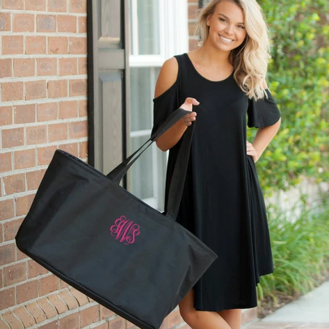 Personalized Large Utility Tote - Beach Bag - Picnic Basket - Black
