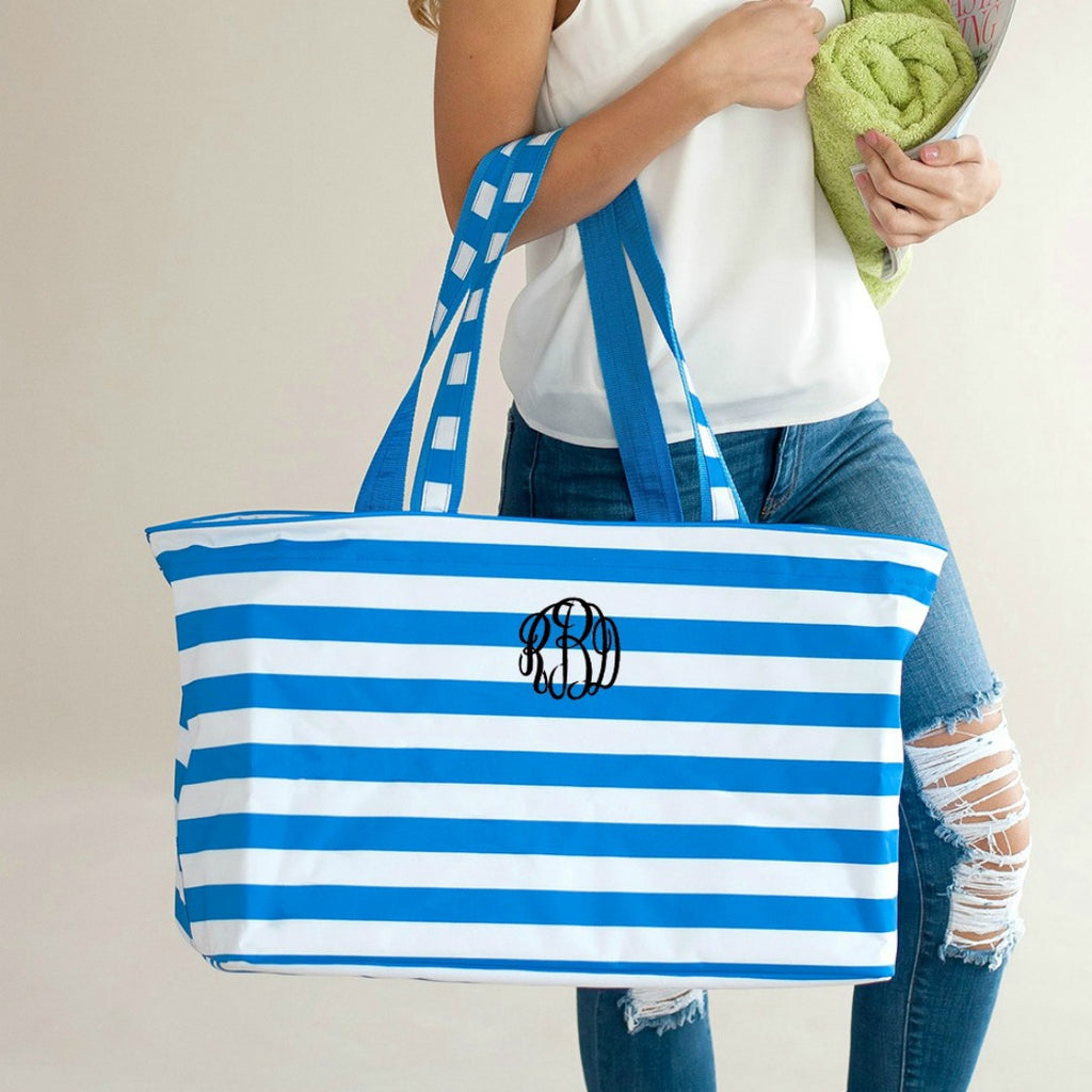 Personalized Large Utility Tote - Beach Bag - Picnic Basket - Blue Stripe