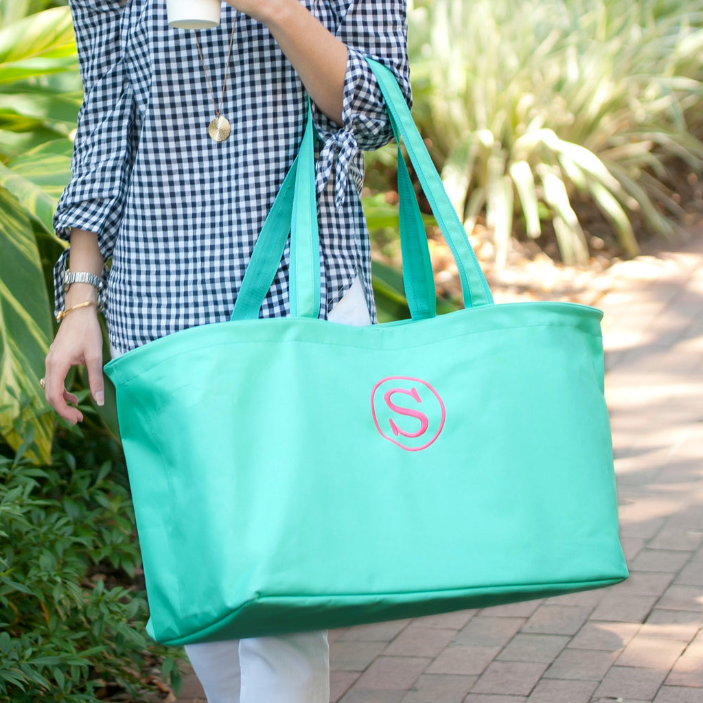 Personalized Large Utility Tote- Beach Bag - Picnic Basket - Mint