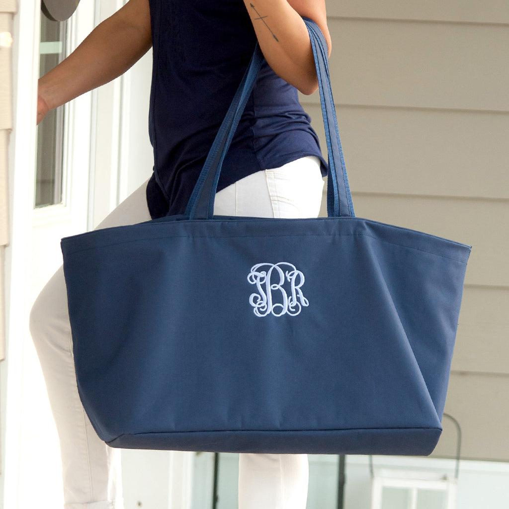 Personalized Large Utility Tote - Beach Bag - Picnic Basket - Navy