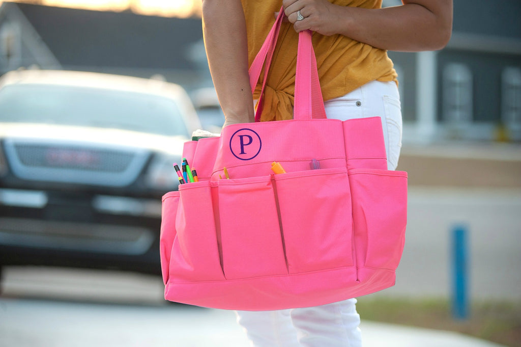 Personalized Organizing Utility Tote - Multi Pocket Bag - Pink