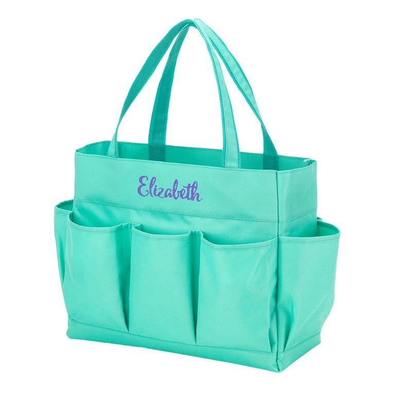 Personalized Organizing Utility Tote - Multi Pocket Bag - Mint