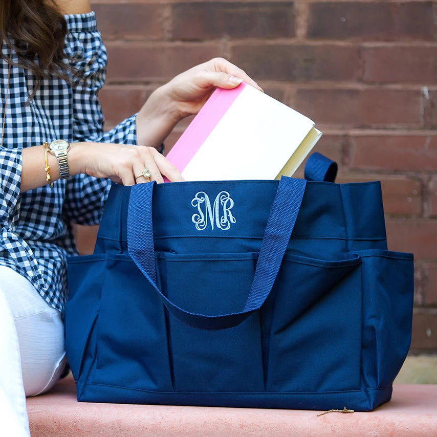 Personalized Organizing Utility Tote - Multi Pocket Bag - Navy Blue