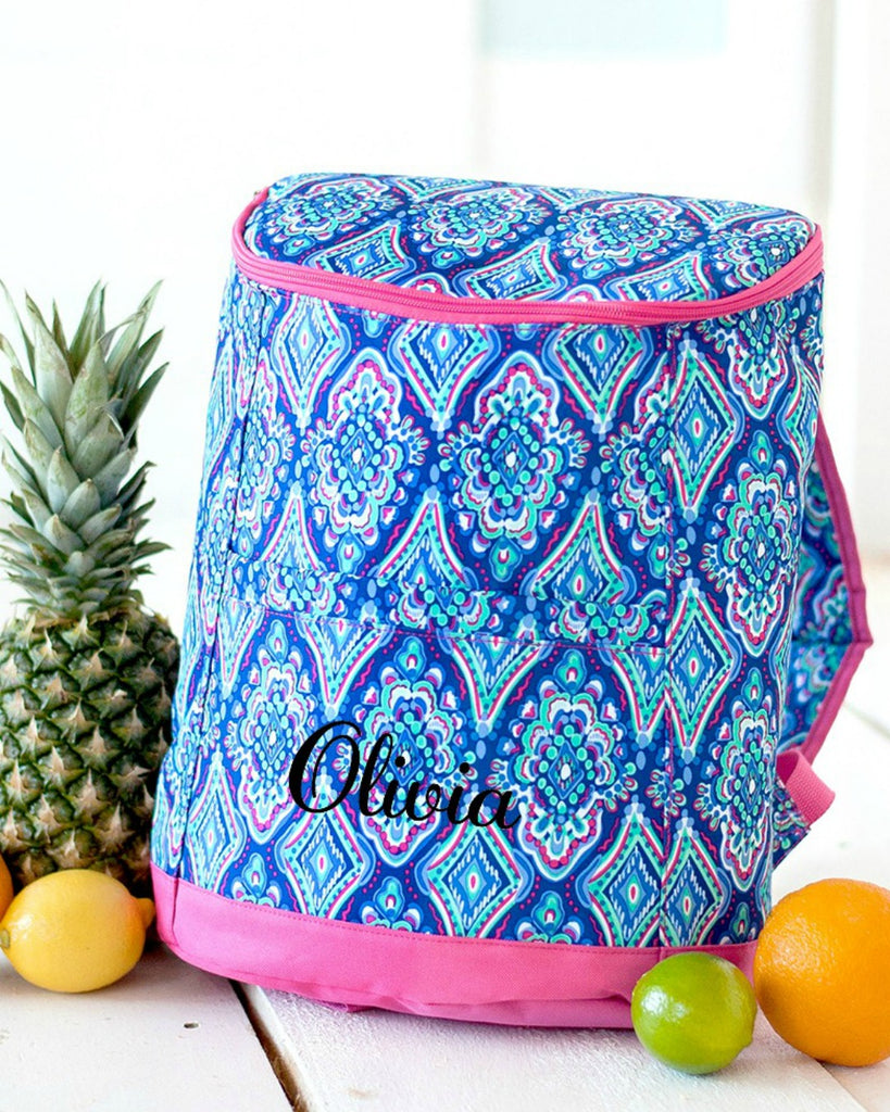Personalized Cooler Backpack - Insulated Beach Backpack - Boho Ikat Hydrangea