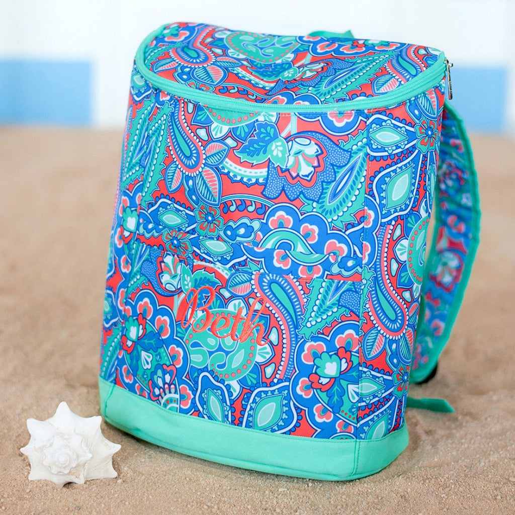 Personalized Cooler Backpack - Insulated Beach Backpack - Mint Coral Paisley