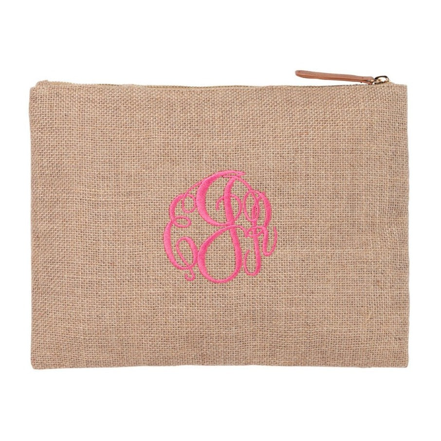 Personalized Monogrammed Large Cosmetic Bag Zip Makeup Pouch - Gifts Happen Here - 5