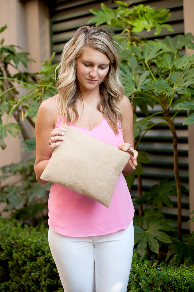 #nurselife Burlap Zip Pouch