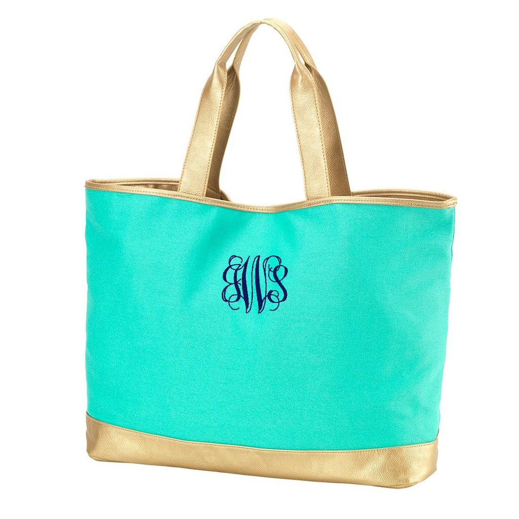 Personalized Tote Bag - Metallic Gold Trim - Mint
