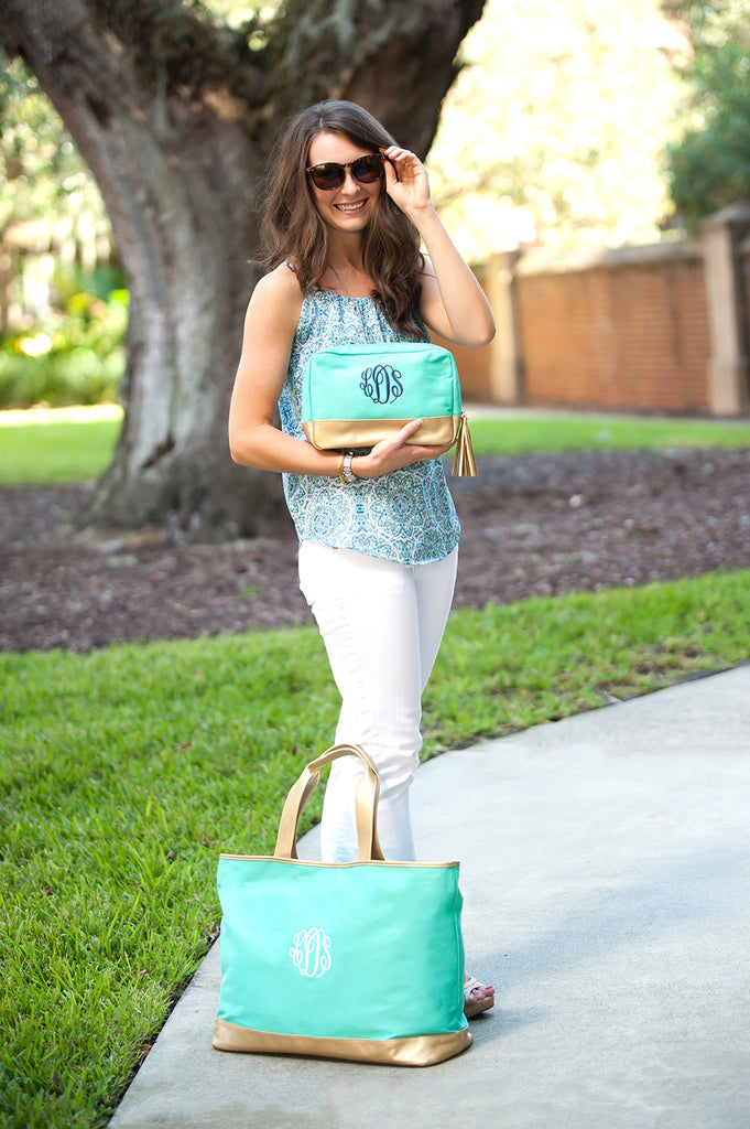 Fashionable & Functional Gift Set - Monogrammed Matching Tote & Pouch Set