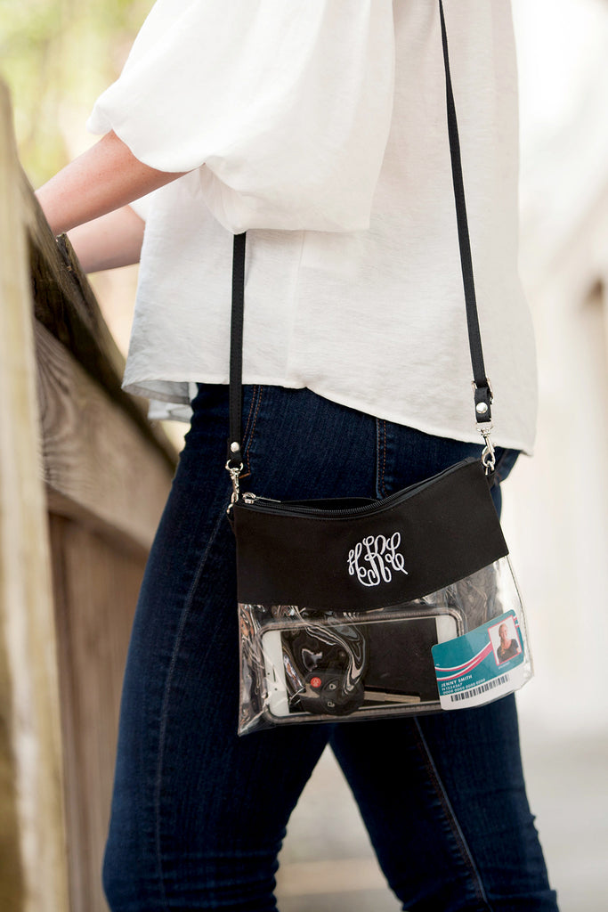 Personalized Stadium Bag Clear Purse - Black