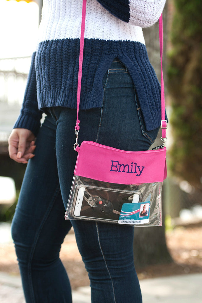 Personalized Stadium Bag Clear Purse - Hot Pink