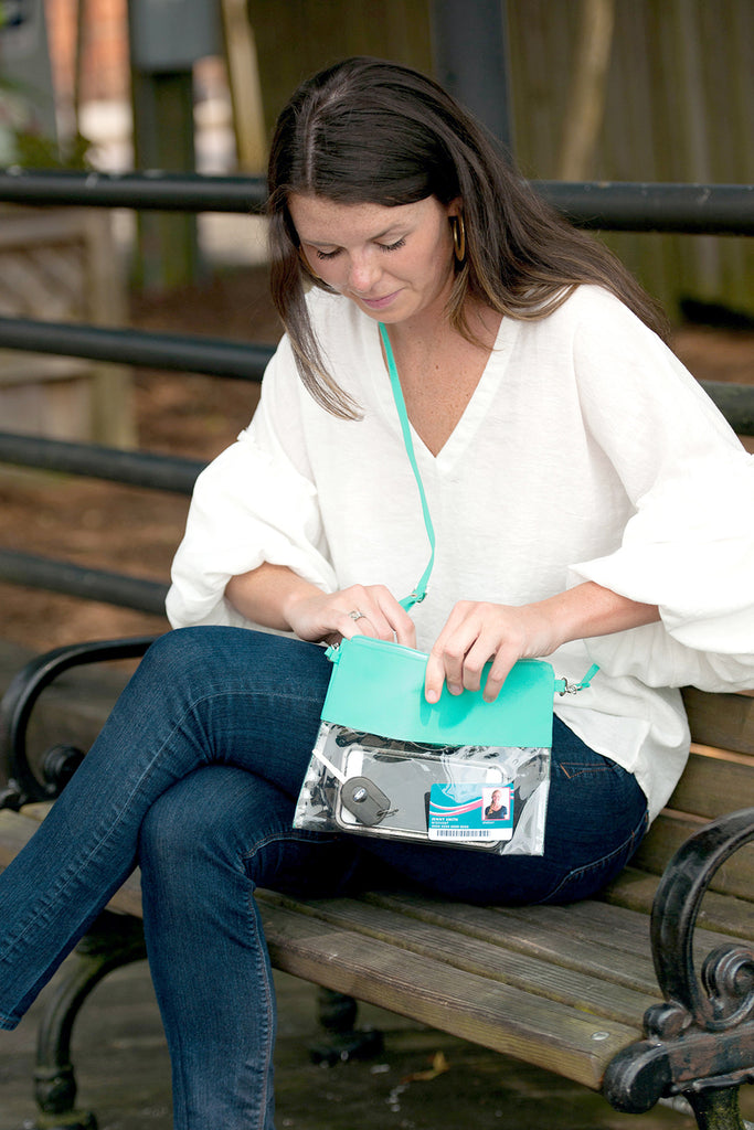 Personalized Stadium Bag Clear Purse - Mint