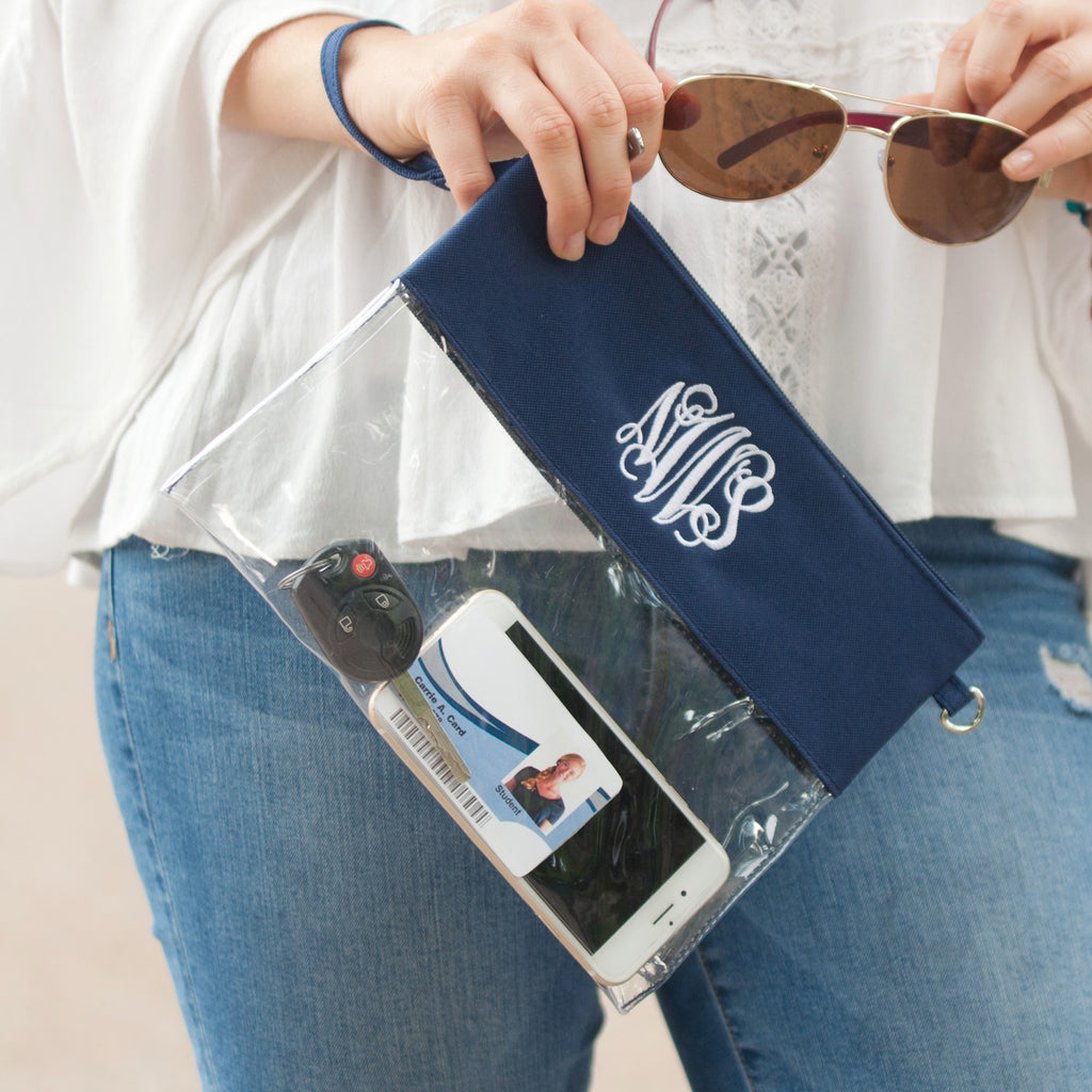 Personalized Stadium Bag Clear Purse - Navy Blue