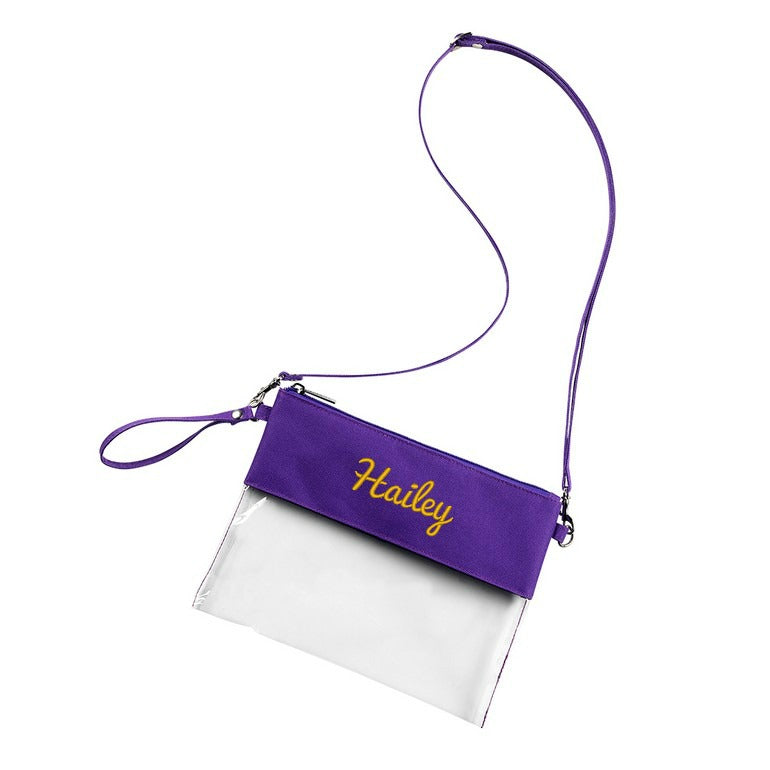 Personalized Stadium Bag Clear Purse - Purple