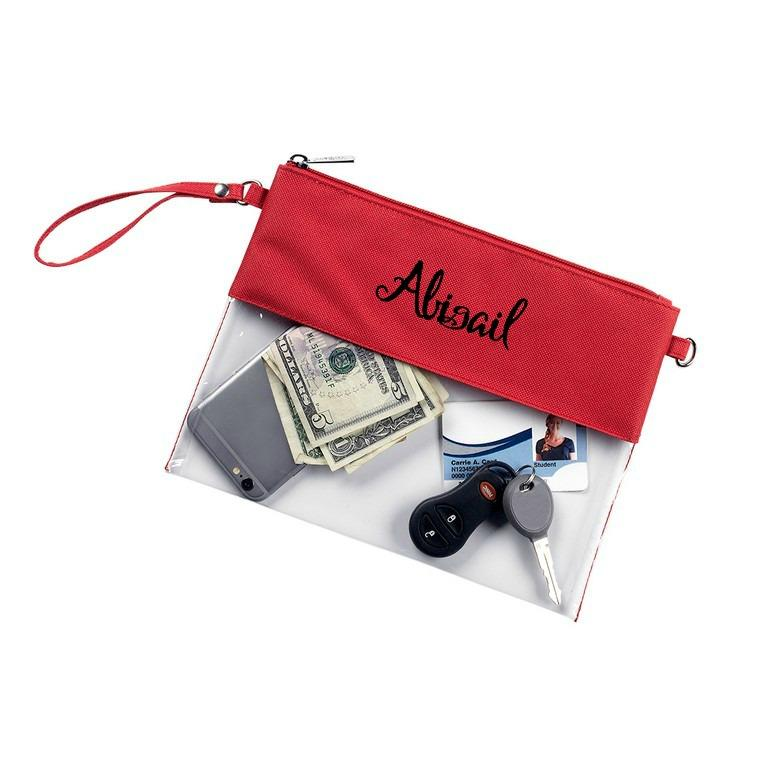 Personalized Stadium Bag Clear Purse - Red