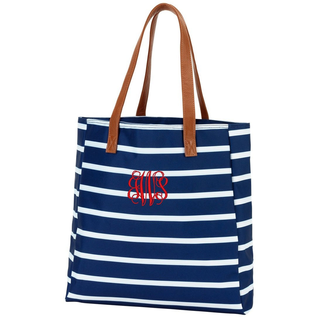 Personalized Striped Tote Beach Bag - Navy