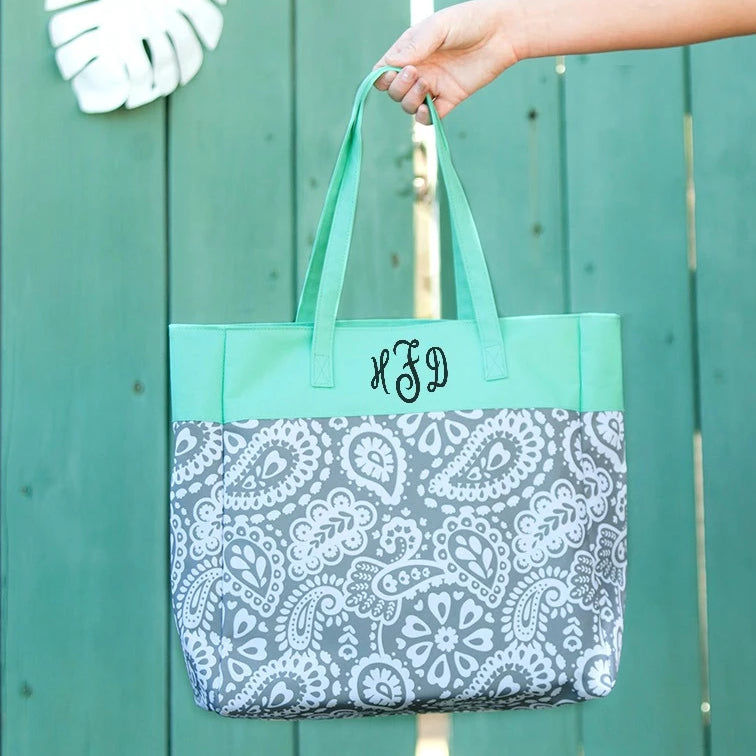 Personalized Kids Tote Bag - Paisley Gray & Mint
