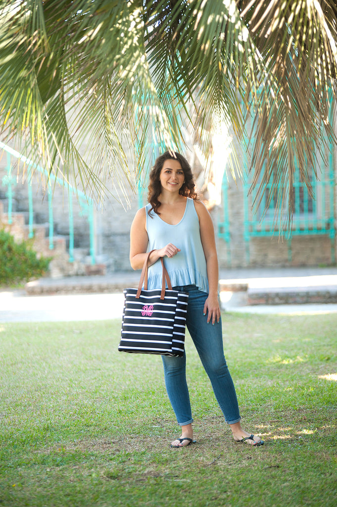 Personalized Striped Tote Beach Bag - Black