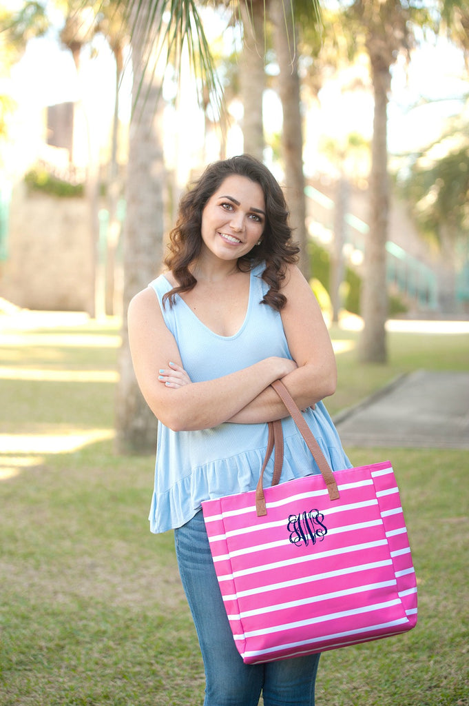 Personalized Striped Tote Beach Bag - Pink
