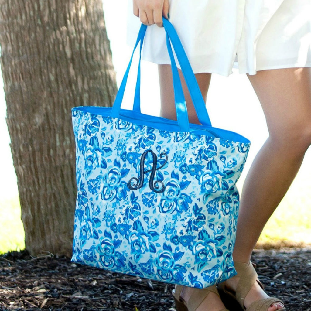Personalized Zip Top Tote Bag - Navy Floral