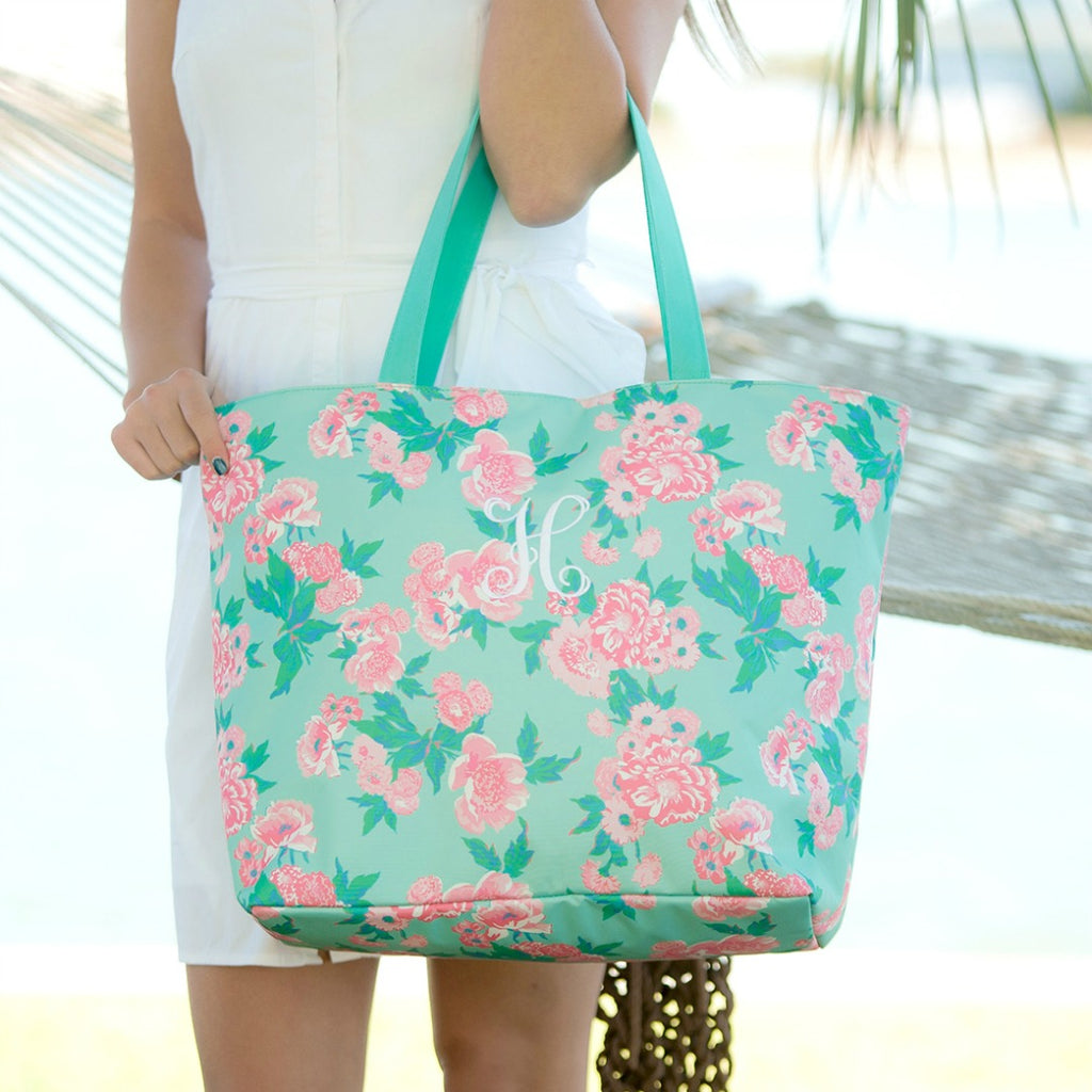 Personalized Zip Top Tote Bag - Mint Pink Floral