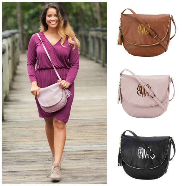 Monogrammed Crossbody Handbag Sienna Purse Tassel Bag