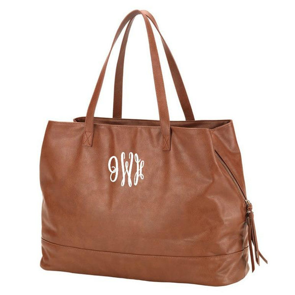 Personalized Large Vegan Leather Cambridge Handbag