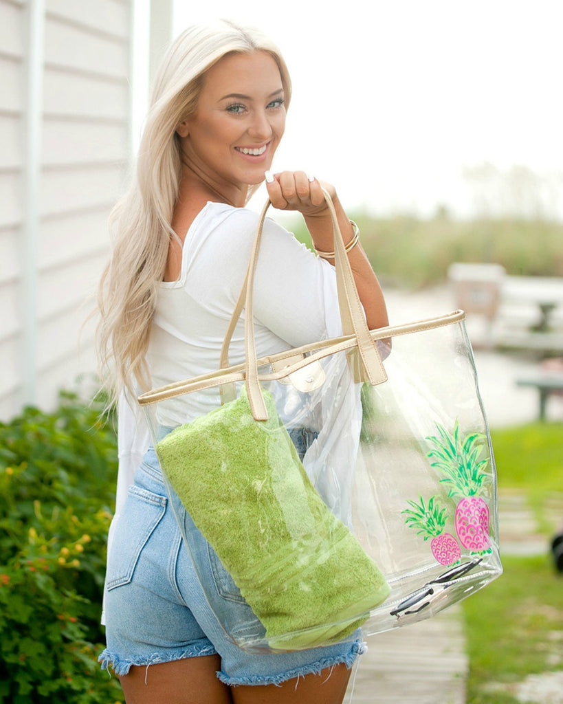 Large Clear Beach Bag - Pineapple, Sea Turtle, Palm Tree, Crab