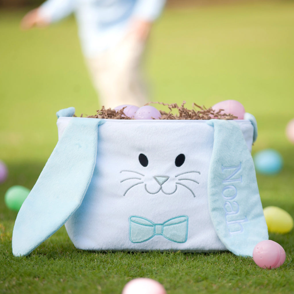 Personalized Kids Easter Bunny Basket - Blue Bunny