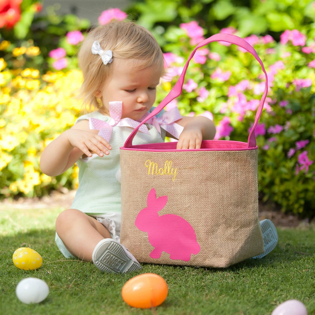 Personalized Kids Easter Basket Buckets - Pink Burlap Bunny