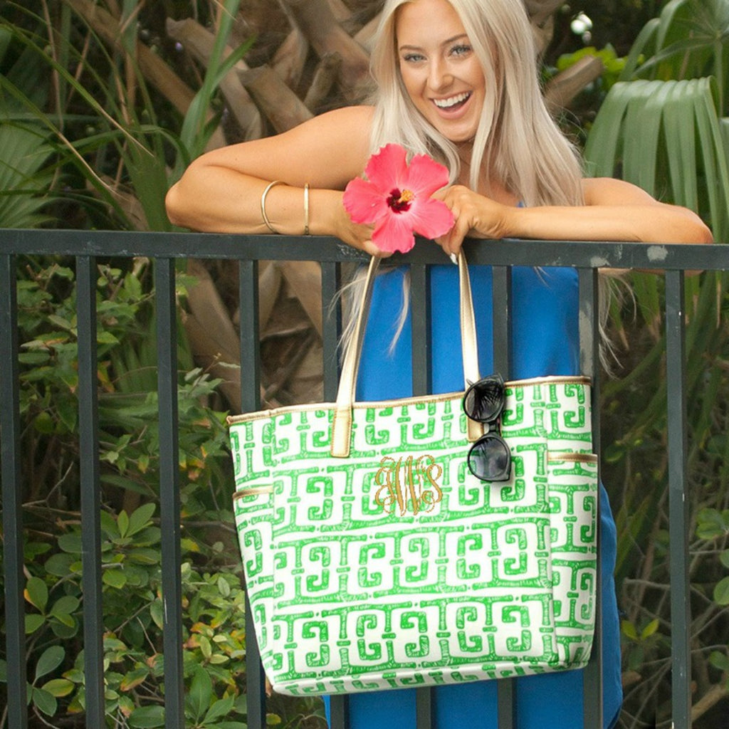 Personalized Shoulder Tote Bag - Tiki Green