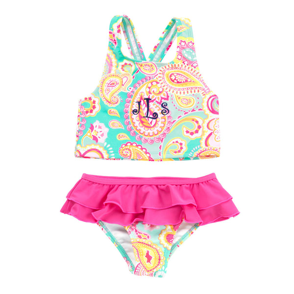 Personalized Summer Paisley Girls Swimsuit Set Pink MInt