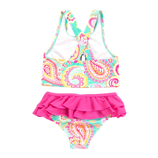 540a5fd189 Personalized Summer Paisley Girls Swimsuit Set Pink MInt - Gifts Happen Here