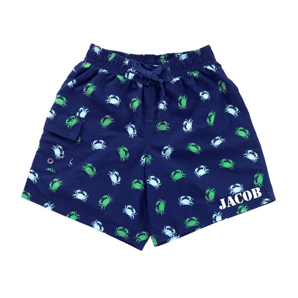 Personalized Crab Boys Swim Trunks Shorts