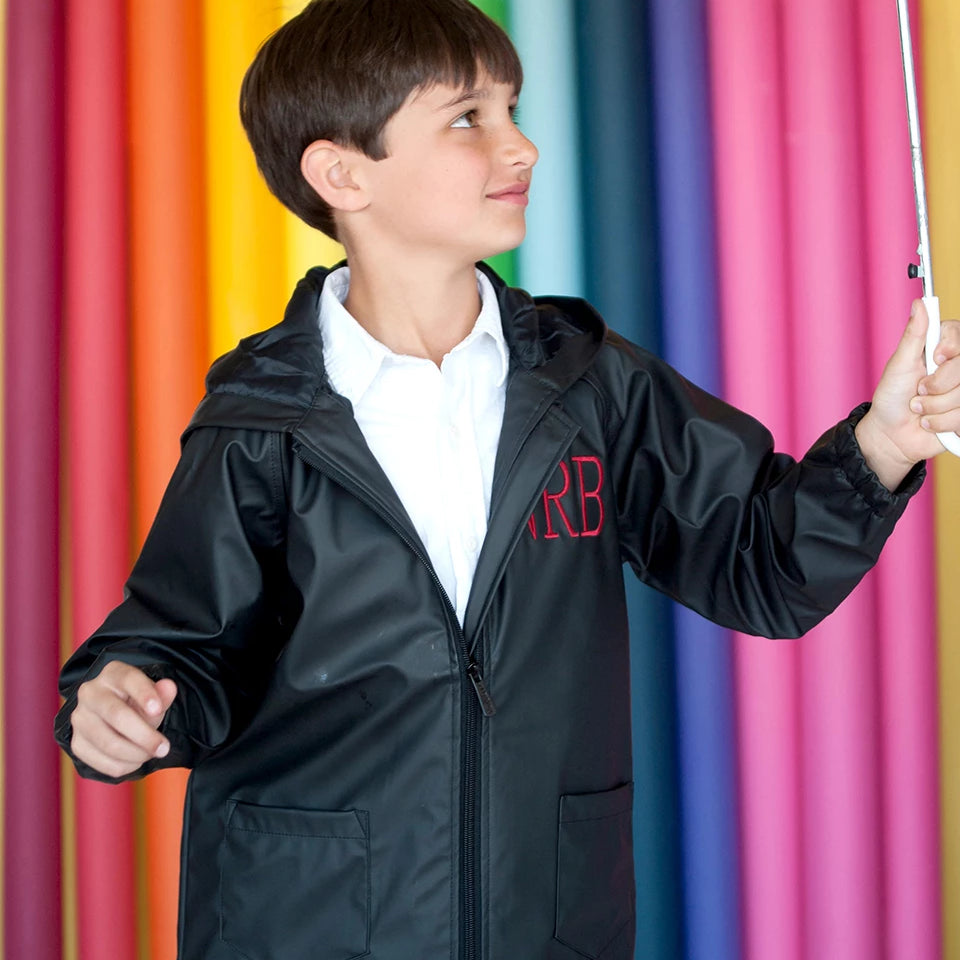 Monogrammed Kids Rain Jacket - Kids Rain Coat for Girls & Boys - Black