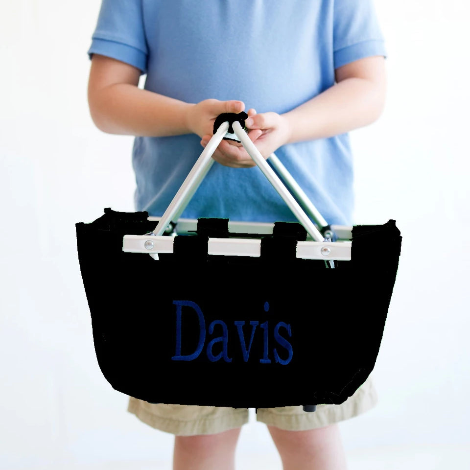 Personalized Small Market Basket - Black