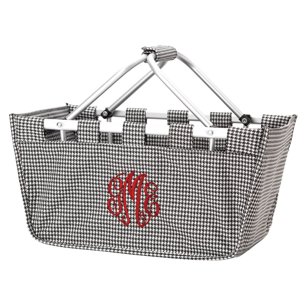 Personalized Large Market Basket - Houndstooth Black